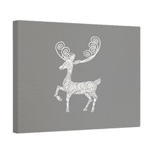 'Deer Crossing' Graphic Art on Wrapped Canvas in Gray
