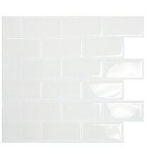"Mosaik 9.7"" x 10.9"" Mosaic Tile in White"