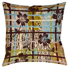 Floral Study in Plaid Printed Throw Pillow