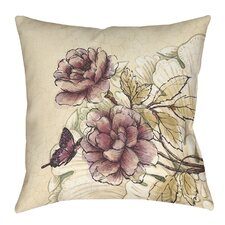 Rosette Butterfly Printed Throw Pillow