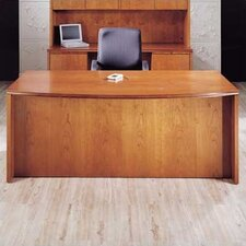Forte Full Double Pedestal Bow Front Executive Desk with3 File/ 2 Box Drawers