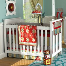 Red Graphic Floral 10 Piece Crib Bedding Set