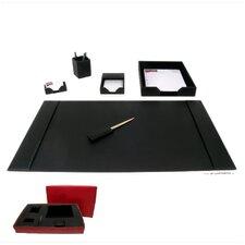1400 Series Econo-Line Leather Six-Piece Desk Set in Black