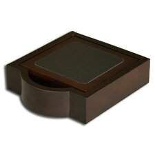 8000 Series Walnut and Leather Four Square Coasters with Holder in Black