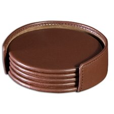 1000 Series Classic Leather Four Round Coasters with Holder in Chocolate Brown