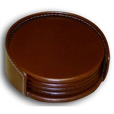 3200 Series Leather Four Round Coasters with Holder and Inner Lining in Rustic Brown