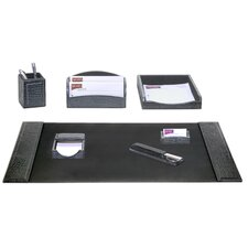 Crocodile Embossed Leather 7-Piece Desk Set