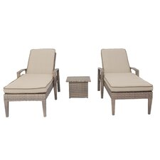 Ferrara 3 Piece Chaise Lounge Set with Cushions