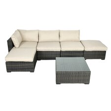 South Hampton 6 Piece Sectional Deep Seating Group with Cushions