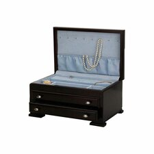 Hannah Dark Mahogany Jewelry Chest with Icy Blue Lining