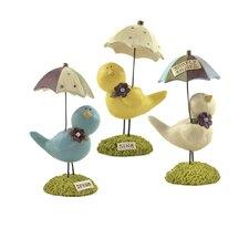 3 Piece Dream, Sing, Enjoy Bird Figurine Set with Umbrellas (Set of 2)