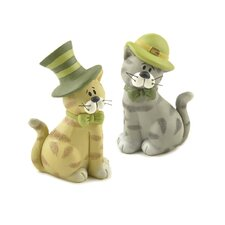 2 Piece Cats with Irish Hats Figurine Set (Set of 2)