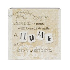 'Home Is Built Love' Box Sign Wall Decor (Set of 4)