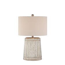 """3-Way Ribbed Mercury Glass 25"""" H Table Lamp with Drum Shade"""