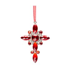 Crystal Cross Holiday Ornament (Set of 2)