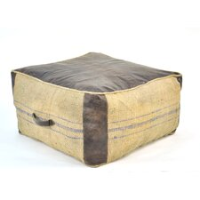 Leather and Jute Pouf Ottoman