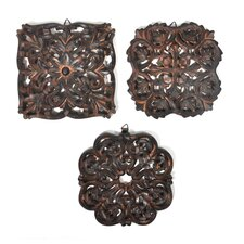 3 Piece Yvone Indian Wooden Panel Wall Décor Set