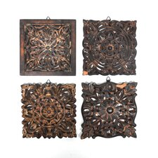 4 Piece Lydia Indian Wooden Panel Wall Decor Set