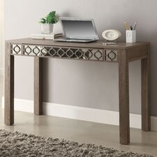 Helena 1 Drawer  Writing Desk with Mirror Accent Panel