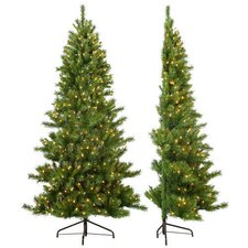 7' Tiffany Pine Half Christmas Tree with 350 Clear Lights with Stand