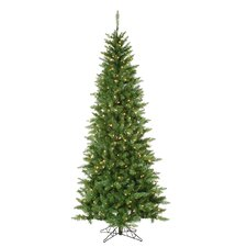 7.5' Green Narrow Nordic Fir Christmas Tree with 400 Clear Lights and Stand