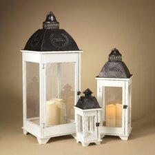 3 Piece Metal and Wood Nesting Lantern Set with Plexiglas Panes