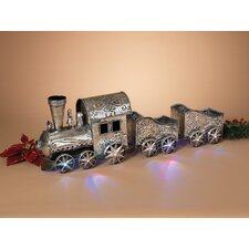 "35.25"" Battery Operated Lighted Musical Metal Holiday Train Sculpture"