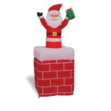 "59"" Lighted Inflatable Up and Down Santa in Chimney"