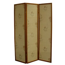 "70.25"" x 52"" Floral Bamboo 3 Panel Room Divider"