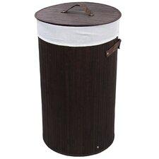 Round Folding Bamboo Laundry Basket with Handle