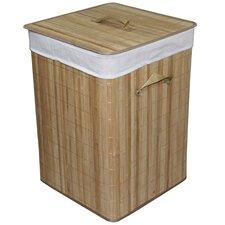 Square Folding Bamboo Laundry Basket with Handle