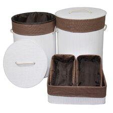 5 Piece Round Folding Bamboo Laundry Hamper and Tray Set