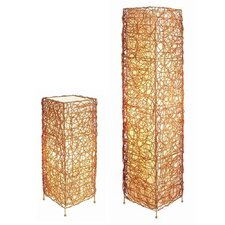 Wicker Table Lamp and Floor Lamp Set with Novelty Shade