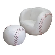 Baseball Kid's Sports Novelty Chair and Ottoman Set
