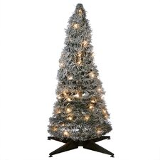 """30"""" Silver Spiral Artificial Christmas Tree with Small LED White Lights"""