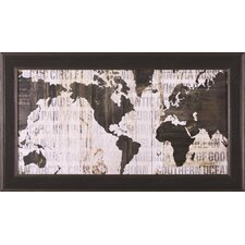 'Crate World Map Neutral' by Sue Schlabach Framed Graphic Art