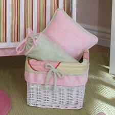 Minky Pink Bubbles Wicker Basket