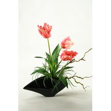 Large Parrot Tulips in Contemporary Resin Planter