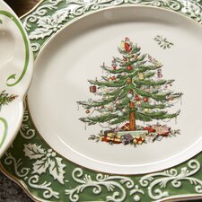 Christmas Tree Embossed Scalloped Plate