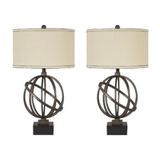 "Shadell 28.5"" H Table Lamp with Drum Shade (Set of 2)"