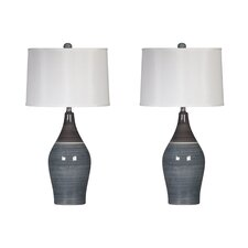 "Niobe 28"" H Table Lamp with Drum Shade (Set of 2)"