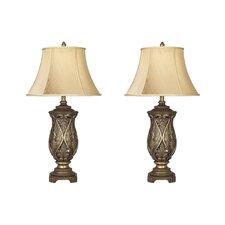 "Katarina 33.25"" H Table Lamp with Bell Shade (Set of 2)"