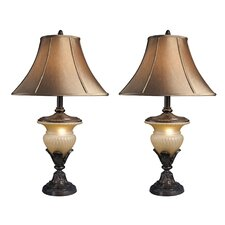 "Danielle 34"" H Table Lamp with Bell Shade (Set of 2)"