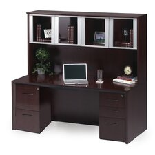 Corsica Series Computer Desk with Glass Door and Hutch