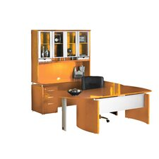 Napoli Series U-Shape Computer Desk with Hutch and Curved Extension