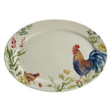 Garden Rooster Stoneware Oval Serving Platter