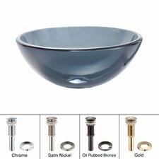 Clear Glass Vessel Bathroom Sink with PU-MR Chrome