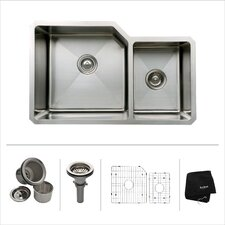 "23"" L x 18"" W Undermount Double Bowl 16 Gauge Kitchen Sink"