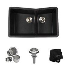 """33"""" x 19.87"""" Undermount 60/40 Double Bowl Granite Kitchen Sink"""