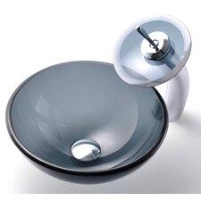 Clear Glass Vessel Bathroom Sink & Waterfall Faucet
